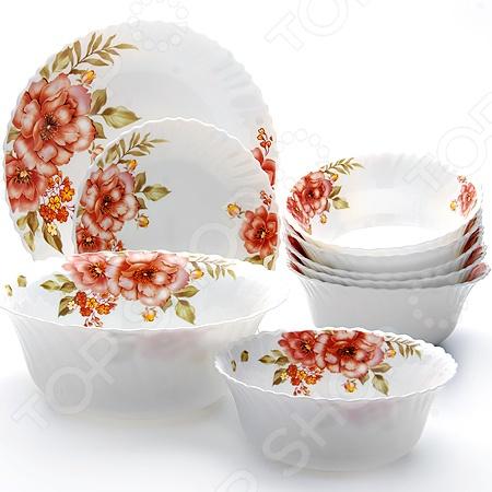Набор посуды Mayer&amp;amp;Boch MB-24102Наборы посуды для сервировки<br>Набор посуды Mayer Boch MB-24102 предназначен для сервировки обеденного стола. Важно не только вкусно приготовить блюдо, но и красиво его подать. В этом вам поможет набор стеклокерамической посуды с красивыми цветочными рисунками. Комплект предназначен для 6 персон и состоит из следующих предметов:  тарелка маленькая 19 см 6 шт;  тарелка глубокая 17,8 см 6 шт;  тарелка большая 25,4 см 6 шт;  салатник большой 22,9 см.<br>
