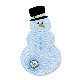 фото Форма для вырубки и форма для эмбоссирования Sizzix Bigz Die Снеговик в шляпе и Textured Impressions