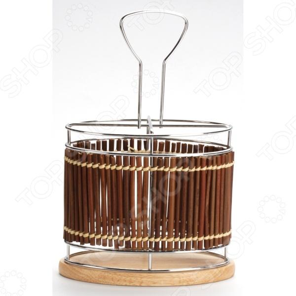Подставка для столовых приборов Super Kristal SK-8637 - аккуратная подставка для хранения столовых приборов. Благодаря своему универсальному и простому дизайну подставка впишется в интерьер любой кухни. Металлический каркас позволяет хранить ложки, ножи, вилки и другие приборы отдельно друг от друга. Удобная рука для переноски подставки является приятным дополнением. Плетенная отделка придаст вашей кухне атмосферу уюта и тепла.