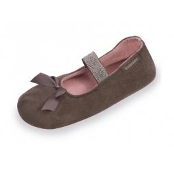 фото Тапочки-балетки детские Isotoner 99345. Цвет: коричневый. Размер: 31