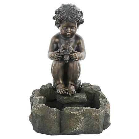 Купить Фонтан садовый GREEN APPLE GWXF01188 «Мальчик и черепаха»