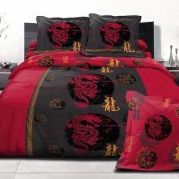 фото Комплект постельного белья Domomania Red Dragon. Satin Fotoprint. Евро
