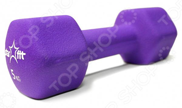 Гантель неопреновая Star Fit DB-201Гантели. Гири<br>Гантель неопреновая Star Fit DB-201 прекрасно подойдет для занятий как в спортивном зале, так и дома. Благодаря ей, вы можете выполнять самые разнообразные упражнения для развития или поддержания физической формы. Данный спортивный снаряд поможет развить целый ряд мышц, среди которых мышцы рук, плеч, спины и грудной клетки. Представленная модель выполнена из стали и имеет неопреновое покрытие, которое поглощает часть влаги с ладоней и помогает минимизировать шум от соударения с полом. Неопреновая гантель приятная на ощупь, не холодная для ладони и имеет привлекательный внешний вид. Также стоит отметить, что гантель имеет гексагональную форму.<br>