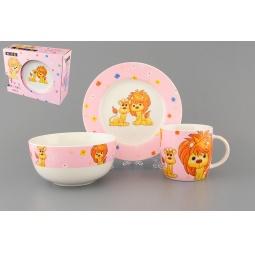 Купить Набор посуды для детей Elan Gallery «Львята на розовом»