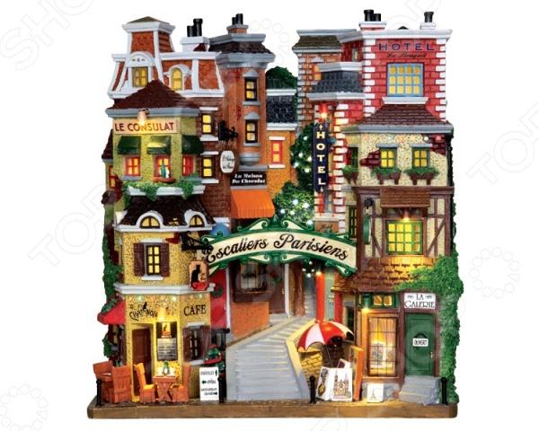 Фигурка керамическая Lemax «Фасад: Парижские ступени»Статуэтки и фигурки<br>Фигурка керамическая Lemax Фасад: Парижские ступени от голландского производителя сувенирной керамики LEMAX отличается насыщенной цветовой гаммой и продуманным сюжетом. Старые красивые домики и узкие уютные улочки улочки выполнены с особой любовью к деталям, потому представленная модель может стать отличным подарком вашим друзьям и близким! LEMAX известный производитель сувенирной керамики из Голландии. Основой коллекции Лемакс являются коллекционные керамические домики со встроенными лампочками. Из этих домиков можно собирать города, добавляя к домикам разнообразные фигурки людей, транспорта, деревьев, ландшафтных элементов.<br>