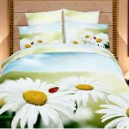 фото Комплект постельного белья Domomania Romashki. Satin Fotoprint. 2-спальный