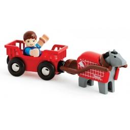фото Набор игровой для мальчика Brio «Лошадка с повозкой»