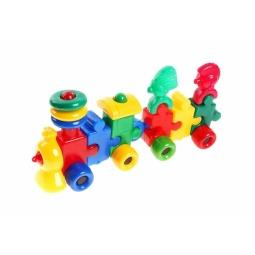 фото Игрушка развивающая для малыша Строим вместе «Паровоз с вагоном и индейцами». В ассортименте