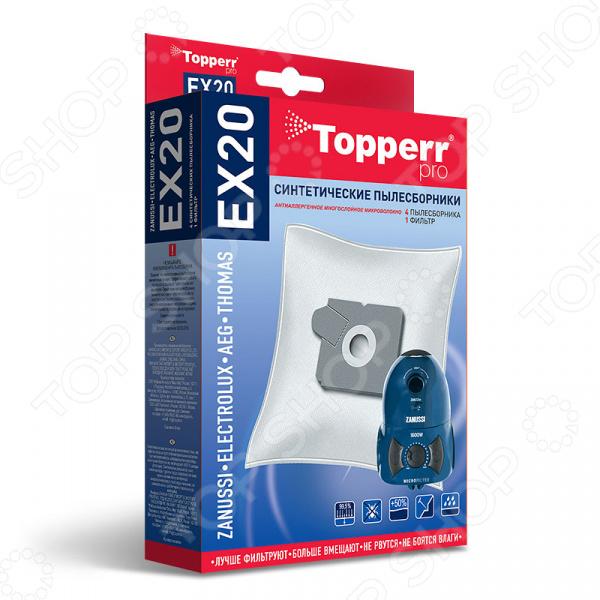 Мешки для пыли Topperr EX 20Аксессуары для пылесосов<br>Мешки для пыли Topperr EX 20 незаменимые аксессуары для традиционных пылесосов с мешком для сбора пыли. Они изготовлены из синтетического материала. Плотный нетканый фильтрующий материал отличается особой прочностью, устойчив к воздействию влаги, хорошо задерживает частицы пыли вплоть до 99,5 . Эти качества обеспечивают устройству хорошую мощность всасывания на протяжении всего срока службы пылесборника. Кроме того, обеспечивается чистота внутренних поверхностей пылесоса, а также сводится к минимуму вероятность попадания пыли и аллергенных микроорганизмов в воздух. Мешки рассчитаны на одноразовое применение. В комплекте 4 пылесборника и 1 фильтр.<br>