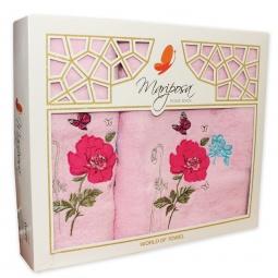 фото Комплект из 2-х махровых полотенец Mariposa Summer. Цвет: розовый