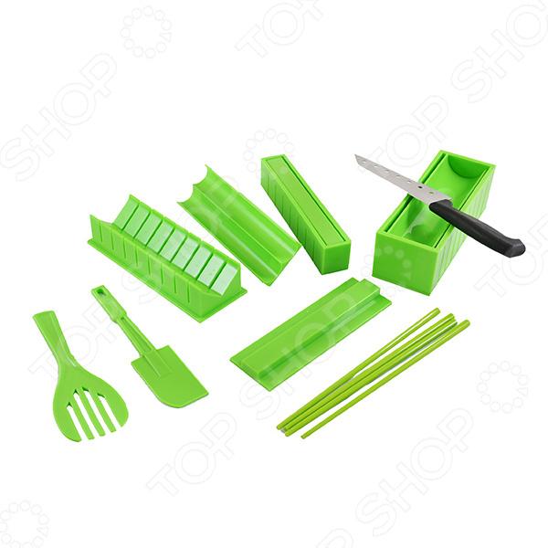 Набор для приготовления роллов Ruges «Суши»Наборы для приготовления суши<br>Приготовление суши и роллов требует определенного мастерства и навыков, но с набором для приготовления роллов Ruges Суши с этим справится даже новичок. В комплект входит все необходимое: формы для роллов, лопатка, шпатель, нож для нарезки и четыре палочки. Набор также можно использоваться для приготовления рулетиков из лаваша и блинов. Изделия изготовлены из высококачественного пищевого пластика.<br>