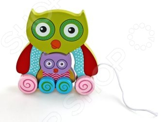 Каталка для малыша Mapacha Сова с совенком прекрасная развивающая игрушка, которая станет отличным подарком для вашего малыша. Каталка выполнена в виде совы, к которой приделана веревочка для того, чтобы ребенку было удобно везти игрушку за собой. Каталка выполнена из высококачественных материалов, которые совершенно безопасны для детского здоровья. Яркая расцветка и оригинальный дизайн обязательно понравятся вам и вашему малышу. Размер игрушки ВхШ : 17х16,5 см. Высота фигурки совенка: 8 см.