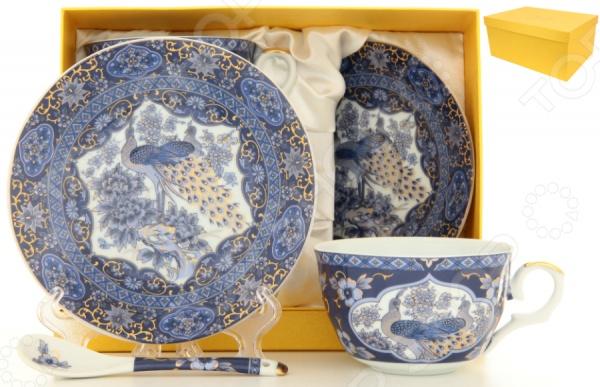 Чайная пара с ложками Elan Gallery «Павлин синий» 180796 Elan Gallery - артикул: 534909