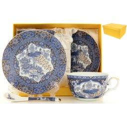Купить Чайная пара с ложками Elan Gallery «Павлин синий» 180796