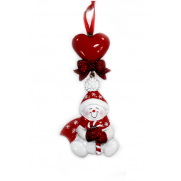 фото Елочное украшение Crystal Deco «Снеговик с сердечком». Цвет: красный
