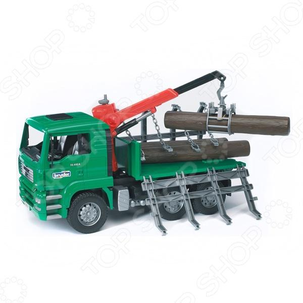 Машинка со светозвуковыми эффектами Bruder MAN «Лесовоз» машины bruder лесовоз scania с портативным краном и брёвнами