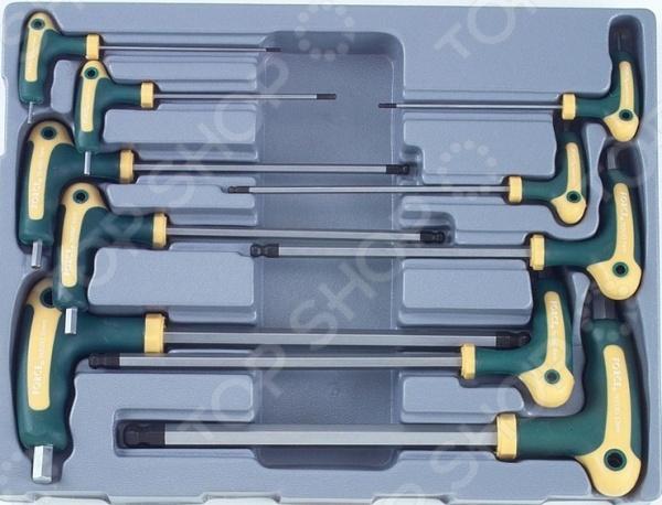Набор ключей торкс угловых с рукояткой Force F-51010T отвертка торкс с отверстием force f 717