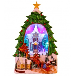 фото Новогодняя композиция Star Trading 680-72 «Домик в елке и Санта на санях»