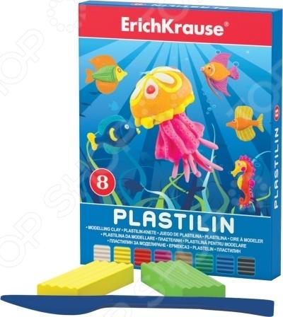 Набор пластилина Erich Krause 36903Лепка из пластилина<br>Набор пластилина Erich Krause 36903 превосходный подарок детям от трех лет. С этим замечательным набором процесс лепки превратится не просто в увлекательную игру, а в серьезное исследование. Ребенок сможет придумывать и создавать различные объекты самостоятельно или же с помощью взрослых. Занятия лепкой крайне полезны, поскольку направлены на развитие мелкой моторики рук и формирование творческого мышления. Изготовлено из безопасных нетоксичных материалов. В наборе 8 цветов по 18 грамм.<br>