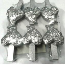 фото Набор прищепок бельевых с декором Феникс-Презент 34361 «Серебряные сердца»