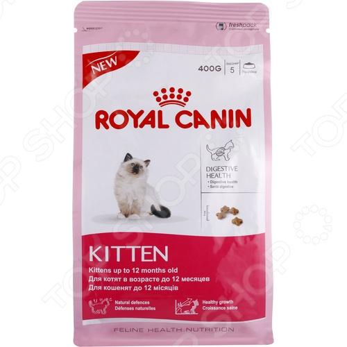 Корм сухой для котят и беременных кошек Royal Canin KittenСухой корм<br>Корм сухой для котят и беременных кошек Royal Canin Kitten это прекрасный вариант повседневного рациона вашего маленького питомца. Так как в период роста пищеварительная система котенка продолжает развиваться ему необходимо точное сбалансированное питание, которое бы удовлетворяло его потребности в росте, энергии и силе. Благодаря тому, что корм содержит только натуральные ингредиенты высокого качества, котенок будет получать ежедневную норму всех необходимых питательных веществ, протеина, витаминов и минералов. Уникальная комбинации также помогает поддерживать здоровое пищеварение котенка и нормализовать его стул. Корм также показан для беременных кошек, которые требуют более внимательного и сбалансированного питания. Корм сухой для котят и беременных кошек Royal Canin Kitten стоит выбрать, так как:  прекрасный вкус обеспечивается за счет свежих и натуральных ингредиентов;  комплекс антиоксидантов и прибиотиков поддерживает естественные защитные силы организма;  легкоусвояемые белки поспособствуют росту котенка и удовлетворяет его энергетические потребности;  адаптированное сочетание клетчатки способствует балансу кишечной микрофлоры. Как перевести котенка на новый сухой корм Royal Canin Kitten. Если вы решили начать кормить питомца кормом Royal Canin Kitten, это следует делать постепенно. Чтобы котенок быстрее усвоил новый вид корма, смешайте привычное для неё питание с хрустящими гранулами. В последующие 7 дней понемногу увеличивайте содержание сухого корма, до тех пор пока он полностью не перейдет на него. Суточная норма кормления. Для нормального самочувствия вашего котенка следует придерживаться следующей суточной нормы кормления:       Возраст котенка     1-2 месяца     2-3 месяца     3-4 месяца     4-6 месяцев     6-9 месяцев     9-12 месяцев       Вес котенка     0,35-0,6     0,8-1,2     1,4-2,1     1,8-2,8     2,4-3,9     2,9-5       Количество корма г     30     50     60     65     7