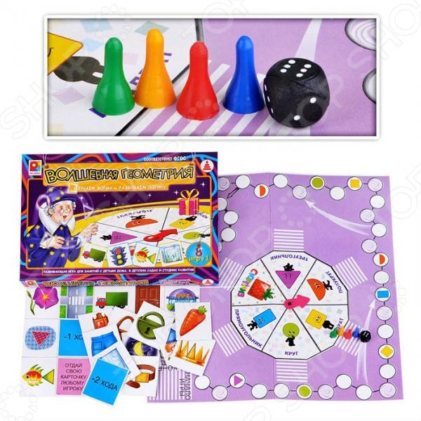 Игра настольная развивающая для детей Радуга «Твоя игра. Волшебная геометрия»Обучающие и развивающие настольные игры<br>Игра настольная развивающая для детей Радуга Твоя игра. Волшебная геометрия увлекательная и забавная игра, которая подарит много радости и веселья вашему ребенку. Эта многовариантная игра поможет закрепить полученные ребенком знания о различных геометрических фигурах и их особенностях, а также усовершенствует логическое мышление. Несмотря на столь высокий обучающий потенциал, правила игры очень просты и понятны даже для трехлетних детей. Так, от ребенка потребуется вращать стрелку на центральном поле, подобрать нужные карточки, а также передвигать фишки по большому полю. Так как обучение проходит в игровой форме с помощью ярких, цветных картинок, оно будет веселым и максимально эффективным. В ходе игры дети запоминают геометрические фигуры, развивают математические способности и внимание.<br>