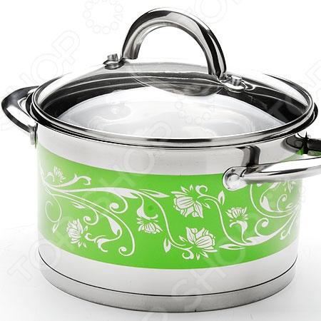 Кастрюля с крышкой Mayer&Boch «Цветок». Цвет: зеленый посуда кухонная