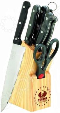 Набор ножей Bekker BK-147Ножи<br>Набор ножей Bekker BK-147 с лезвиями из высококачественной нержавеющей стали станет незаменимым на вашей кухне. Идеально подойдет для шинковки, чистки, нарезки овощей и фруктов, а также перерубания мелких костей. Лезвия ножей долго сохраняют заточку, а цельнокованная конструкция клинков гарантирует долговечность изделий. Эргономичная рукоять каждого изделия выполнена из пластика. Рельефная поверхность рукояти обеспечит надежный захват и не даст ножу скользить в руке при использовании. В комплекте поставляется 5 ножей различного назначения, ножницы, мусат и удобная деревянная подставка. С набором ножей Bekker BK-147, вы почувствуете себя профессиональным шеф-поваром.<br>