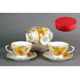 Набор чайный коралл желтый цветок