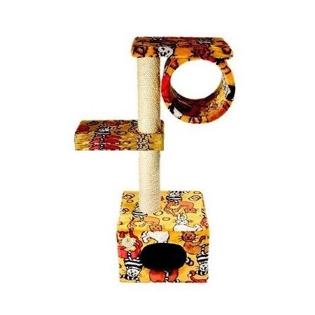 Купить Домик-когтеточка ЗООНИК с 2-мя площадками и трубой. В ассортименте