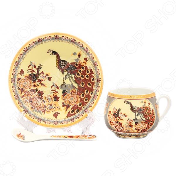 Чашка кофейная с блюдцем и ложкой Elan Gallery «Павлин на бежевом» чашка чайная с блюдцем elan gallery изысканность