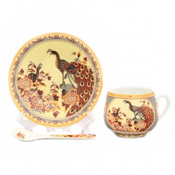 Купить Чашка кофейная с блюдцем и ложкой Elan Gallery «Павлин на бежевом»