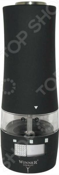 Мельница для перца Winner WR-4002 предназначена для дробления черного перца-горошка, поэтому обязательно станет полезным дополнением на кухне современной хозяйки. Это электрическая модель, поэтому с легкостью избавит вас от муторных механических мельниц. Одно нажатие приводит в запуск мельницу. Корпус изделия выполнен из прочного пластика, что гарантирует долгий срок службы и неприхотливость в обслуживании. Модель отличается стильным дизайном, что позволяет использовать мельницу в том числе и для обслуживания посетителей в кафе и ресторанах. Работает от 6-ти батареек типа ААА в комплект не входят .