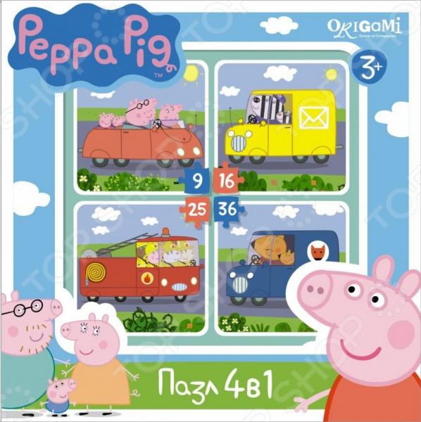 Набор пазлов 4 в 1 Оригами Peppa Pig «4в1. Транспорт»Другие виды пазлов<br>Набор пазлов 4 в 1 Оригами Peppa Pig 4в1. Транспорт удивительный комплект пазлов для самых маленьких. Пазлы отличаются своей яркостью, отличным качеством, точной и уникальной нарезкой каждой детали, отличной состыковкой деталей. Из элементов набора можно составить 4 разные картинки с изображением разных видов транспорта. Плотный картон не сильно мнется в детских руках, поэтому картинки можно будет собирать не один раз. Собрать яркие и красочные пазлы с детальной и качественной прорисовкой не составит труда даже для самых маленьких, так как все детали понятны и легко узнаваемы. Особенностью данного набора пазлов является оригинальный дизайн в стиле популярного мультфильма Свинка Пеппа . Набор позволит развить у вашего ребенка внимательность, сообразительность, мелкую моторику рук, усидчивость и терпеливость.<br>