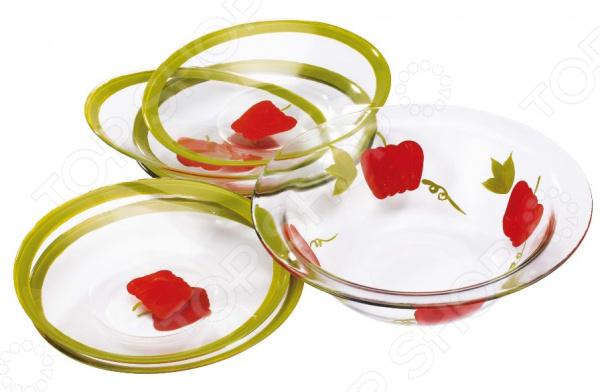 Набор салатников Bekker BK-6708Салатницы<br>Набор салатников Bekker BK-6708 для сервировки как обеденного, так и праздничного стола. Посуда первоклассного качества и стильного современного дизайна. Выполнены из жаропрочного стекла и декорированы оригинальным рисунком. Подходит для чистки в посудомоечной машине. В наборе 7 предметов  Салатник диаметром 28 см, объем 1.7 л.  6 салатников диаметром 22.7 см.<br>