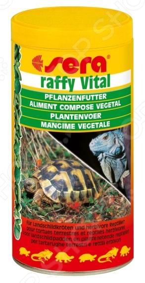 Корм для растительноядных рептилий Sera Raffy VitalЗОО товары<br>Корм для растительноядных рептилий Sera Raffy Vital сбалансированный растительный корм, предназначенный только для сухопутных черепах и рептилий, питающихся растительностью. Смесь травяных и кормовых гранул способствует быстрому насыщению животных и легкой усвояемости. Корм содержит небольшое количество рыбьего белка для более сбалансированной формулы. Он также укрепляет защитные силы организма и повышает сопротивляемость различным заболеваниям. Витаминные добавки и минералы предотвращают развитие рахита размягчения панциря и костей. Походит для сухопутных черепах, игуан.<br>