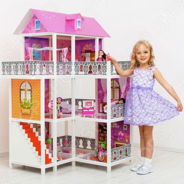 Кукольный дом с аксессуарами PAREMO PPCD116-07Кукольные домики. Мебель<br>Что может быть увлекательней для маленькой девочки чем игра в куклы Яркие наряды, множество дополнительных аксессуаров и интересных деталей превращают игру в увлекательное и крайне интересное занятие, которое может увлечь на несколько часов. Но никакие аксессуары не сравнятся с красивыми кукольным домиком! Он превращает игру в нечто удивительное и незабываемое.  Замечательный подарок для вашего ребенка! Кукольный дом с аксессуарами PAREMO PPCD116-07 понравится любой девочке. Этот замечательный игрушечный домик сделает игру в куклы ещё более интересной и увлекательной. Это оригинальный домик с мебелью, в котором девочка сможет разместить своих любимых кукол. У этого домика 3 больших этажа и 6 просторных, где можно встречать гостей, устраивать вечеринки и настоящие балы. Также имеется большой и просторный балкон. Основные элементы каркас дома, мебель и прочие аксессуары выполнены из экологичного высококачественного плотного пластика, поэтому малышка сможет с удовольствием играть, не боясь ничего разбить или сломать. Перекрытия, стены и крыша выполнены из плотного 3-слойного картона. Набор идеально подходит, как для групповых, так и для индивидуальных игр.  Почему стоит выбрать именно этот домик  При производстве используются только качественные и проверенные материалы, которые прошли строгий контроль качества и соответствие нормам.  Частично открытый, без закрывающихся лицевых фасадов, дом позволяет внимательно следить за ходом игры и развитием событий.  При желании вы сможете дополнительно приобрести понравившиеся вам наборы мебели, что позволит ребенку проявить себя в качестве дизайнера интерьера.  Эффективно развивает детскую фантазию, воображение, пространственное мышление и мелкую моторику рук.  Замок собирается как конструктор. Детали легко собираются и разбираются с помощью стандартных креплений.  В комплекте имеются 3 куклы и различные предметы интерьера, велосипед.  Подходит для кукол р