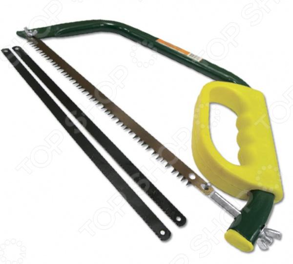 Ножовка по металлу и дереву SANTOOL 030306-001-300Лобзики. Ножовки. Пилы<br>Ножовка по металлу и дереву SANTOOL 030306-001-300 инструмент, используемый для распила металла, древесностружечных заготовок ДСП, ламинат и т.д. , пластика и ПВХ-материалов. Она станет отличным дополнением к набору ваших слесарных инструментов и пригодится при выполнении различных монтажных и строительных работ. Рама ножовки выполнена из высококачественной стали, а ручка из пластмассы. В комплект входят три пильных полотна: одно по дереву и два по металлу.<br>