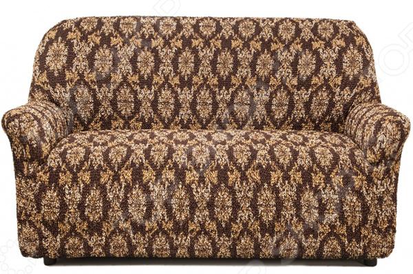 Натяжной чехол на двухместный диван «Виста. Классик Коричневый»Чехлы на диваны<br>Удобно, практично, стильно! Поблекшие цвета, пятна и потертая изношенная обивка как бы нам не хотелось, но со временем мягкая мебель теряет свой первоначальный вид и начинает выглядеть совсем не презентабельно. Кто-то в этом случае спешит в магазин за новой, кто-то реставрирует старую, а кто-то просто покупает мебельный чехол. Сегодня, использование подобных чехлов набирает все большую популярность и на то есть, как минимум три причины:  это удобно вам потребуется не более минуты, чтобы преобразить любимый диван или кресло;  это практично при необходимости чехлы всегда можно снять и простирнуть в машинке;  это стильно над их созданием трудятся лучшие дизайнеры и художники-декораторы.  Натяжной чехол на двухместный диван Виста. Классик Коричневый это отличный выбор для тех, кто хочет быстро, недорого и без особых усилий обновить свою мягкую мебель. Модель выполнена в коричневой цветовой гамме и украшена оригинальным бежевым узором. Диван с такой обивкой органично впишется в интерьер вашей комнаты, подчеркнет общее стилистическое решение и поможет грамотно расставить цветовые акценты. Особенно гармонично он будет смотреться в сочетании с белыми, бежевыми и терракотовыми цветами в интерьере.  Точно на заказ сшит Что примечательно, натяжной чехол еще и весьма универсален. Он подходит для любых двухместных диванов, даже при условии, что последние сделаны на заказ и имеют, отличную от традиционной, форму. Весь секрет в том, что ткань чехла прострочена тонкими эластичными нитями. Благодаря этому, он хорошо тянется, отлично держит форму, не сборит и не сползает. Обратите внимание, что если ваша мебель выполнена из экокожи или кожзама, то для крепления чехла следует приорести специальные фиксаторы в комплект не входят . То же касается и крупногабаритной мебели.  Если говорить, о составе материала, то он является смесовым и состоит из равных частей хлопка и полиэстера. Среди преимуществ ткани ст