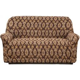 Натяжной чехол на двухместный диван «Виста. Классик Коричневый»