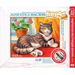 Купить Набор для живописи масляными красками EasyArt Холст «Кошка на окошке»