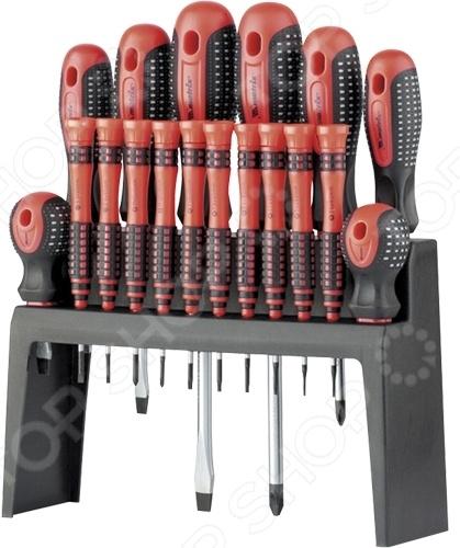 Набор отверток на подвесной полке MATRIX Fusion 11452Наборы отверток<br>Набор отверток на подвесной полке MATRIX Fusion 11452 комплект из стандартных и прецизионных отверток, используемых для монтажных работ. Жала инструментов изготовлены из высококачественной легированной стали, твердость составляет 47-52 HRC. Трехкомпонентная рукоятка отличается эргономичным дизайном, обеспечивает удобный захват инструмента во время работы и предотвращает его выскальзывание. Отвертки представлены на пластиковой подставке, которую можно разместить на рабочем столе или прикрепить к стене. В комплекте:  SL 8x1502;  SL 6x1003;  SL 5x754;  SL 6x385;  PH 3x1506;  PH 2x1007;  PH 1x758;  PH 2x389;  Torx 5x4010 часовая ;  Torx 6x4011 часовая ;  Torx 7x4012 часовая ;  Torx 8x4013 часовая ;  Torx 9x4014 часовая ;  Torx 10x4015 часовая ;  SL 2,5x4016 часовая ;  SL 3x4017 часовая ;  PH 0x4018 часовая ;  PH 00x40 часовая .<br>