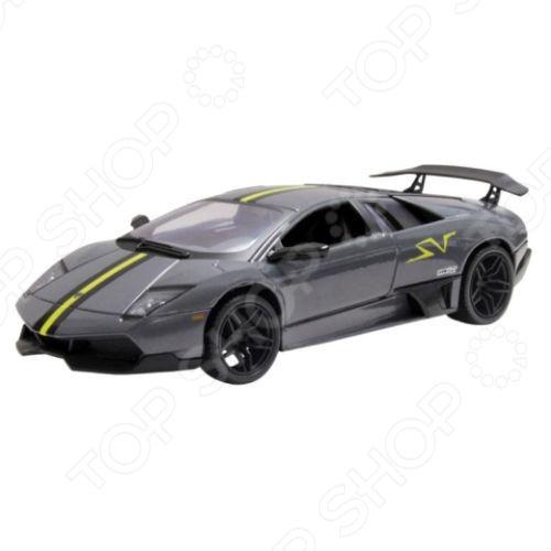 Модель автомобиля 1:24 Motormax Lamborghini Murcielago LP6704 SV. В ассортиментеМодели авто<br>Товар продается в ассортименте. Цвет изделия при комплектации заказа зависит от наличия товарного ассортимента на складе. Модель 1:24 Lamborghini Murcielago LP6704 SV представляет собой точную копию настоящего итальянского суперкара. Коллекционная модель выпущена известной компанией по производству игрушек Motormax. Особенность коллекции в том, что все модели изготовлены по лицензии именитых автопроизводителей. Машина изготовлена из металла с элементами пластика и обладает потрясающей детализацией. У нее открываются багажник, двери, вращаются и поворачиваются колеса. В самых мельчайших подробностях можно рассмотреть моторный отсек и панель приборов. Яркий автомобиль разнообразит игровые ситуации, откроет новые сюжеты для маленького автолюбителя и поможет развить мелкую моторику рук, внимание и координацию движений. Модель 1:24 Lamborghini Murcielago LP6704 SV является отличным подарком не только ребенку, но и коллекционеру.<br>