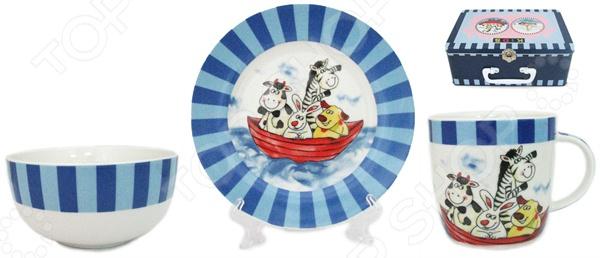 Набор посуды для детей Elan Gallery Веселые мореплаватели состоит из тарелки, миски и чашки для утреннего чая. Яркие цвета и рисунки стимулируют аппетит. Изделия можно мыть в посудомоечной машине. Такая посуда подарит настроение и уют вашим детям. Для хранения предоставляется чемоданчик.