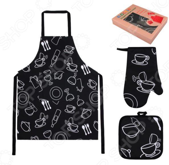 Набор кухонный: фартук, прихватка и рукавица EL Casa «Чашки-рюмки»Кухонные полотенца. Прихватки<br>Не секрет, что кухня это сердце любого дома. Здесь мы не только воплощаем в жизнь свои кулинарные таланты, но и ежедневно собираемся всей семьей, чтобы пообщаться и поделиться впечатлениями. Вот поэтому то каждой хозяйке и хочется сделать свою кухню максимально удобной, функциональной и уютной. Набор кухонный: фартук, прихватка и рукавица EL Casa Чашки-рюмки станет отличным дополнением к комплекту вашего домашнего текстиля. Ну как современная хозяйка может обойтись без фартука или кухонных прихваток Фартук убережет одежду от грязи и попадания жирных брызг, в то время, как прихватки пригодятся вам во время готовки и надежно защитят руки при выемке горячих блюд из духового шкафа. Набор EL Casa Чашки-рюмки это:  Практично благодаря удлиненному поясу, фартук подойдет практически под любой обхват талии.  Удобно прихватка и рукавица снабжены петлями для подвешивания к крючкам.  Качественно фартук и прихватки выполнены из смеси хлопка и полиэстера ткани, отличающейся особой прочностью, влаговпитываемостью и устойчивостью к истиранию.  Стильно изделия украшены оригинальным тематическим принтом.<br>