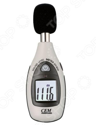 Шумомер СЕМ DT-85A представляет собой прибор, используемый для измерения уровня громкости акустического шума. Модель работает с использованием взвешенных А-фильтров, соответствующих частотной чувствительности человеческого уха. Шумомер имеет высокую точность измерений; снабжен цифровым ЖК-дисплеем с подсветкой, сигнализацией выхода за пределы частотного диапазона и функцией определения максимальных и минимальных показаний.