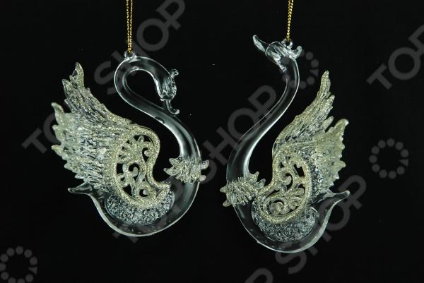 Елочное украшение Crystal Deco «Лебедь». В ассортименте Елочное украшение Crystal Deco «Лебедь» 1707610 /Золотистый/Серебристый