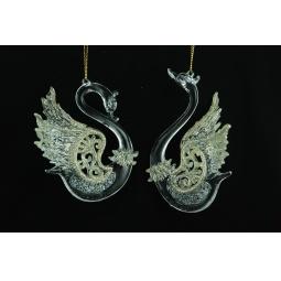 фото Елочное украшение Crystal Deco «Лебедь». В ассортименте. Цвет: золотистый, серебристый
