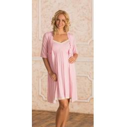 Купить Комплект: халат и сорочка для беременных Nuova Vita 914.1. Цвет: розовый