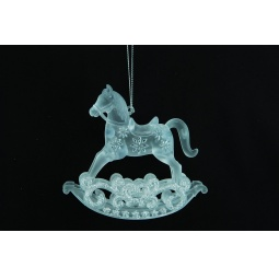 фото Елочное украшение Crystal Deco «Лошадка-каталка». Цвет: белый, серебристый